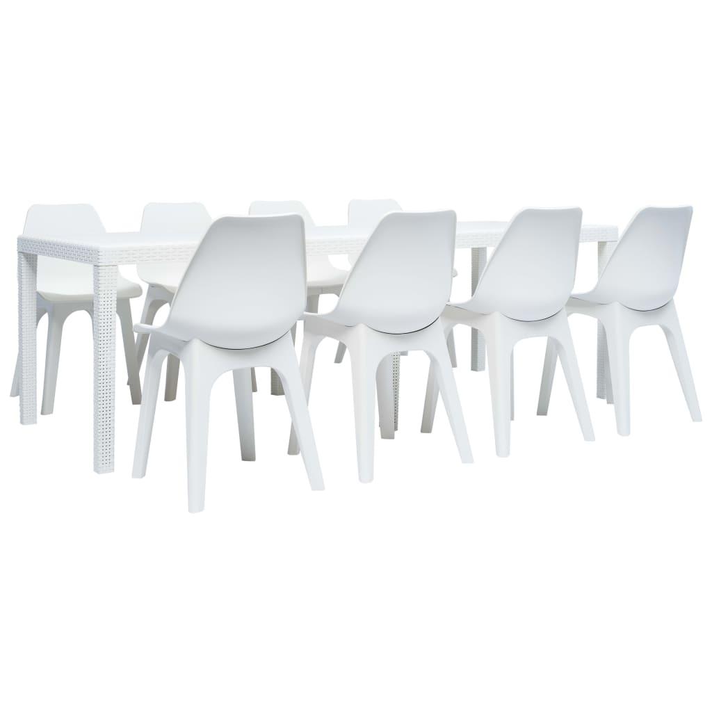 vidaXL 9-częściowy zestaw mebli ogrodowych z plastiku, biały