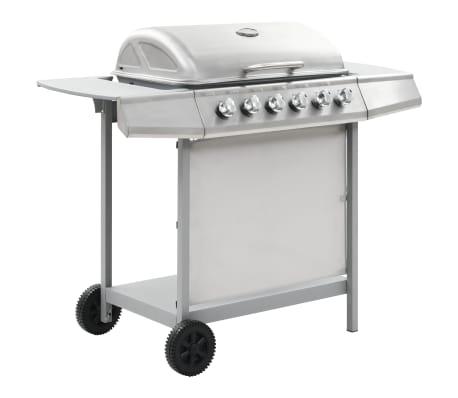 vidaXL Gassgrill med 6 kokesoner rustfritt stål sølv[1/11]