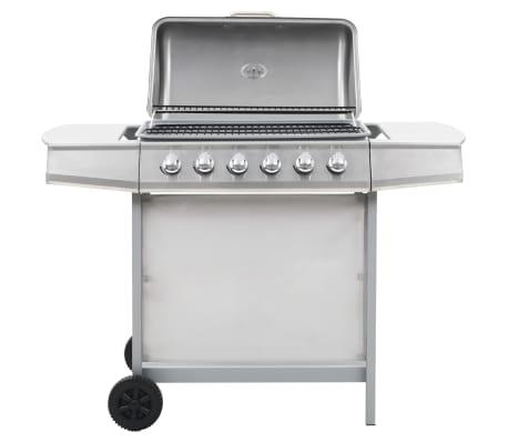 vidaXL Gassgrill med 6 kokesoner rustfritt stål sølv[3/11]