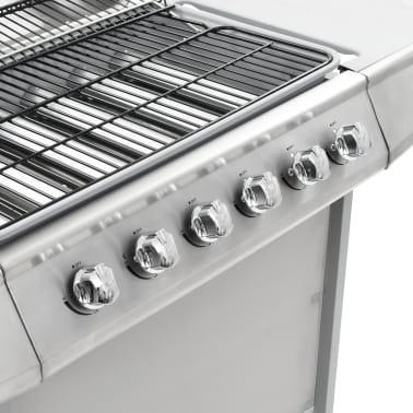 vidaXL Gassgrill med 6 kokesoner rustfritt stål sølv[7/11]