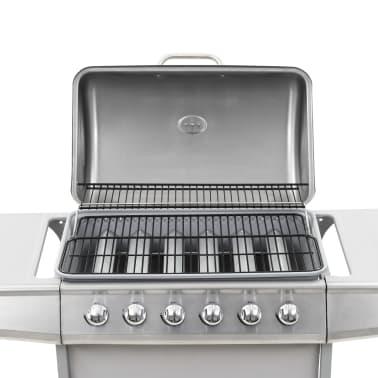 vidaXL Gassgrill med 6 kokesoner rustfritt stål sølv[8/11]