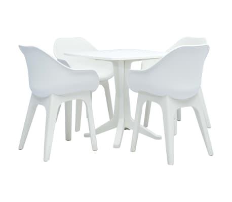 vidaXL Ensemble de salle à manger d'extérieur 5 pcs Plastique Blanc
