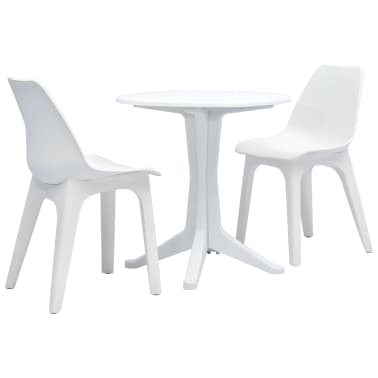 Vidaxl 3 Piece Bistro Set Plastic White