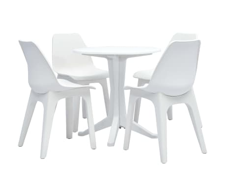 vidaXL 5 Piece Outdoor Dining Set Plastic White[1/12]