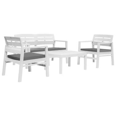 Vidaxl 4 Teiliges Gartenmöbel Set Weiß Kunststoff Günstig Kaufen