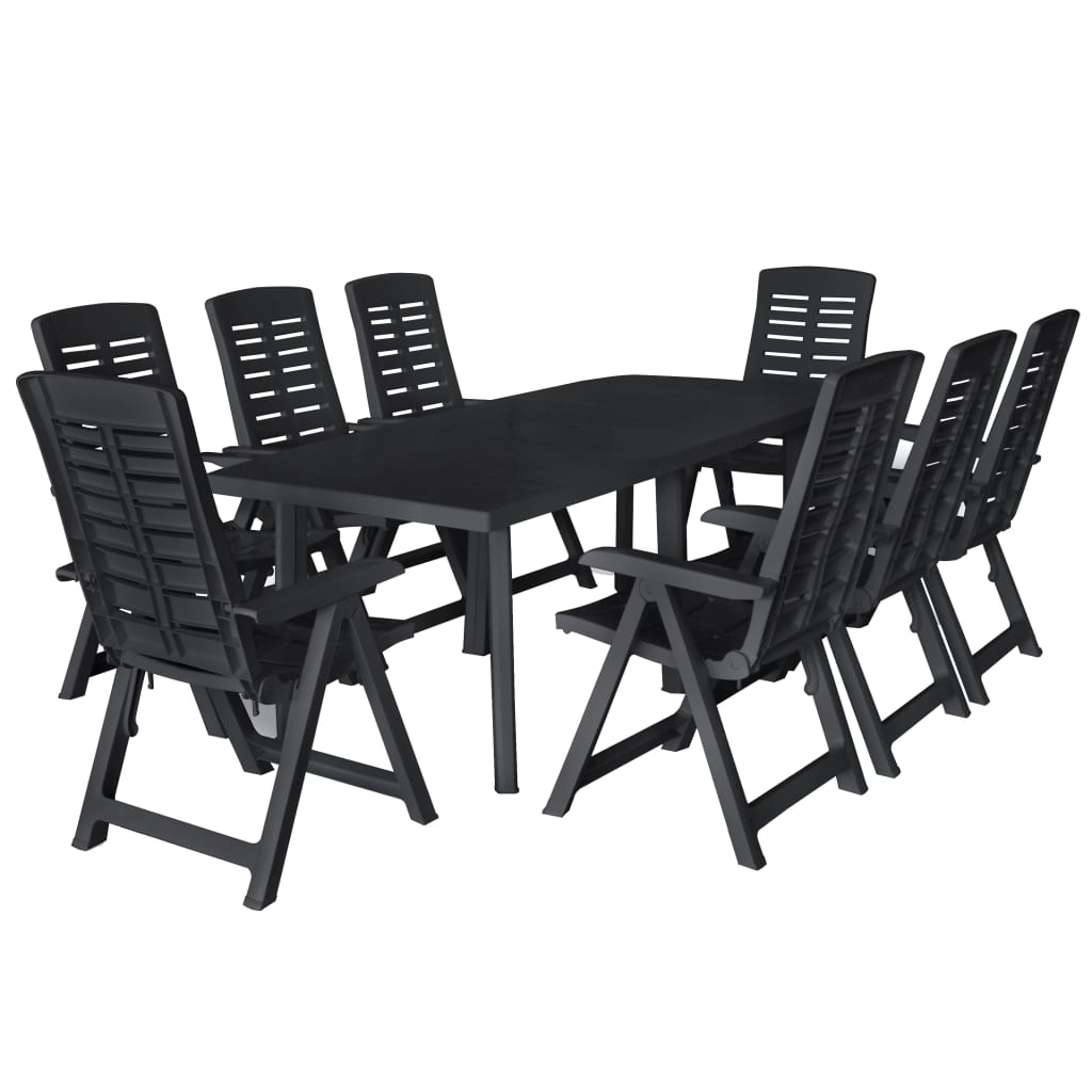 vidaXL Set mobilier de exterior, 9 piese, antracit, plastic poza vidaxl.ro