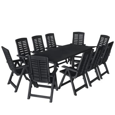 vidaXL 11 Piece Outdoor Dining Set Plastic Anthracite[1/14]