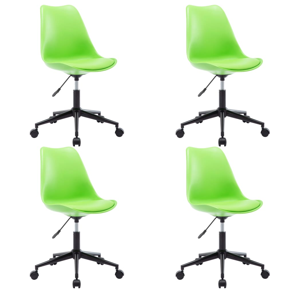 vidaXL Καρέκλες Τραπεζαρίας Περιστρεφόμενες 4 τεμ. Πράσινες Δερματίνη