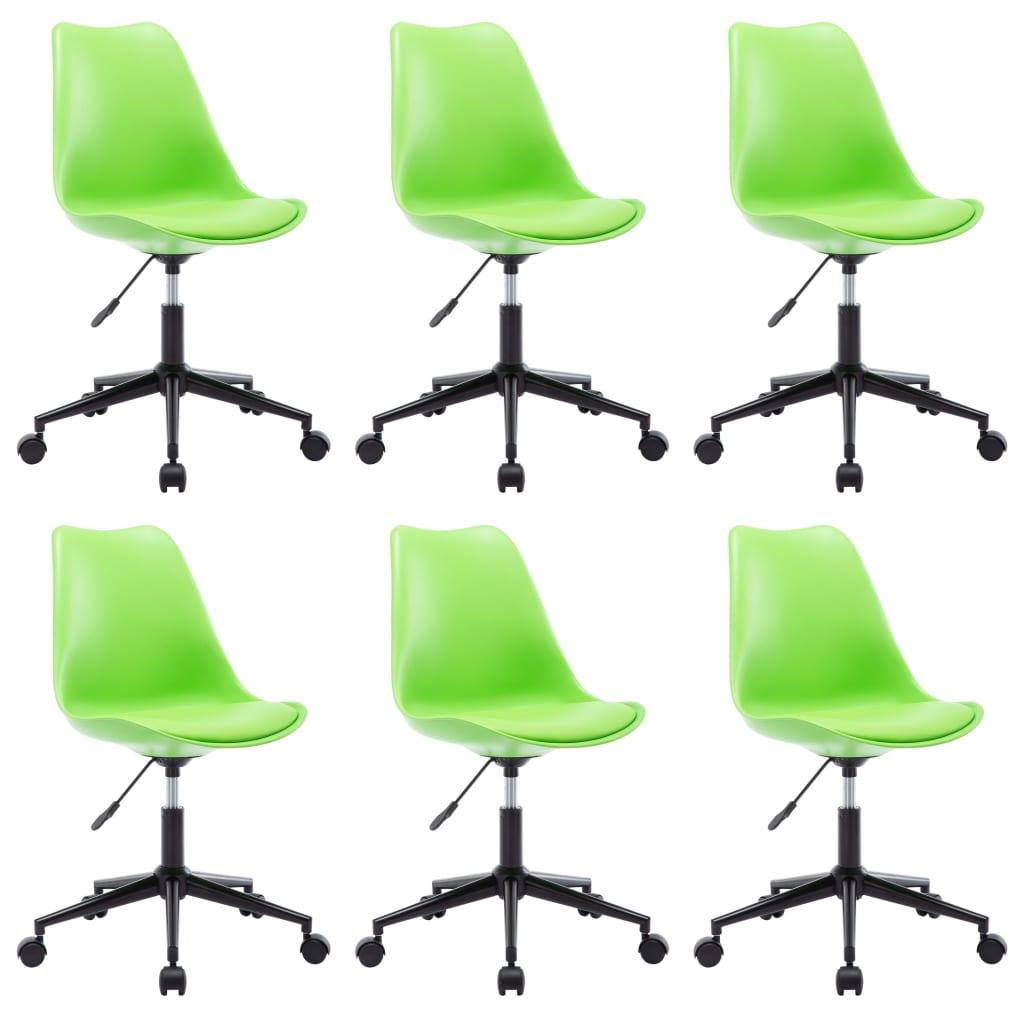 vidaXL Eetkamerstoelen draaibaar 6 st kunstleer groen
