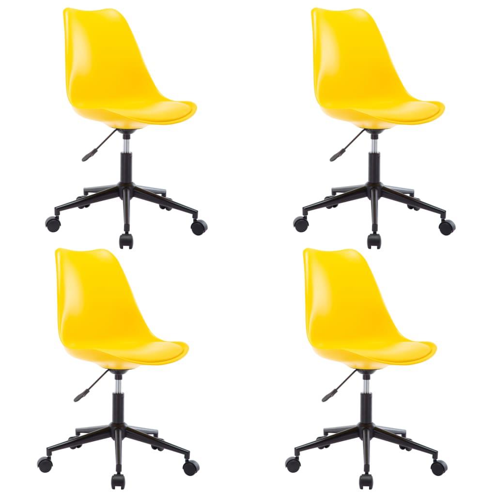 vidaXL Καρέκλες Τραπεζαρίας Περιστρεφόμενες 4 τεμ. Κίτρινες Δερματίνη