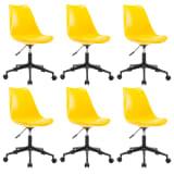 vidaXL Besisukančios valgomojo kėdės, 6vnt., geltonos, dirbtinė oda