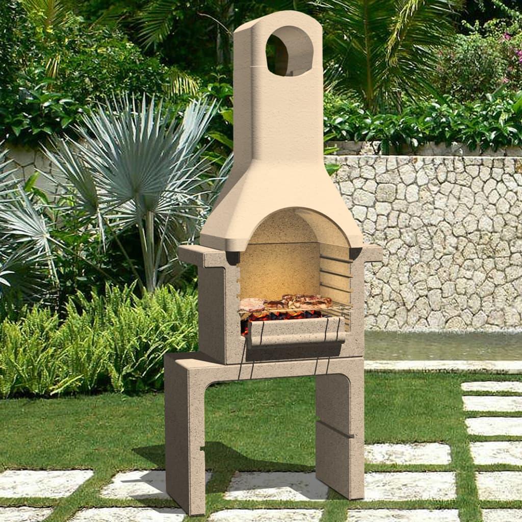 vidaXL Zahradní betonový gril na dřevěné uhlí s komínem