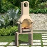 vidaXL Houtskoolbarbecue met schoorsteen beton