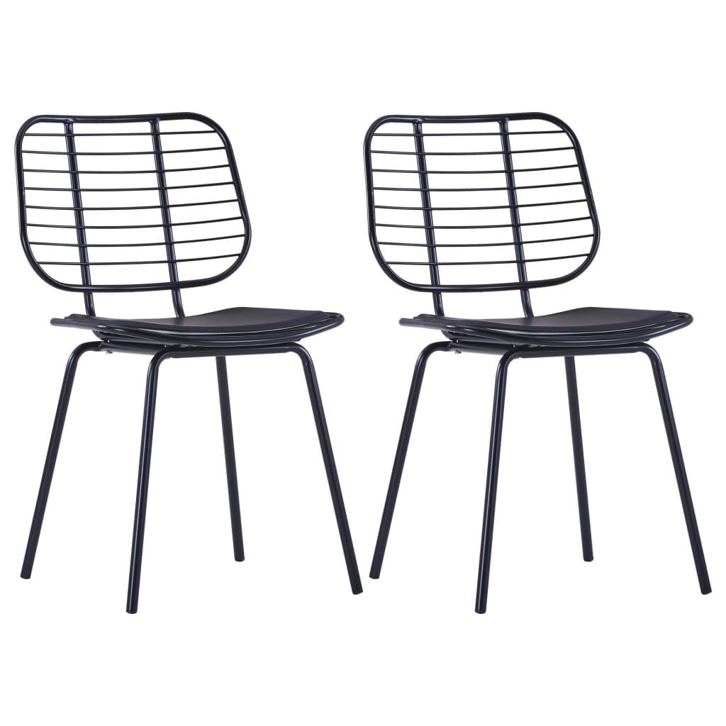 vidaXL Καρέκλες Τραπεζαρίας 2 τεμ. Μαύρες Ατσάλι/Κάθισμα Δερματίνης