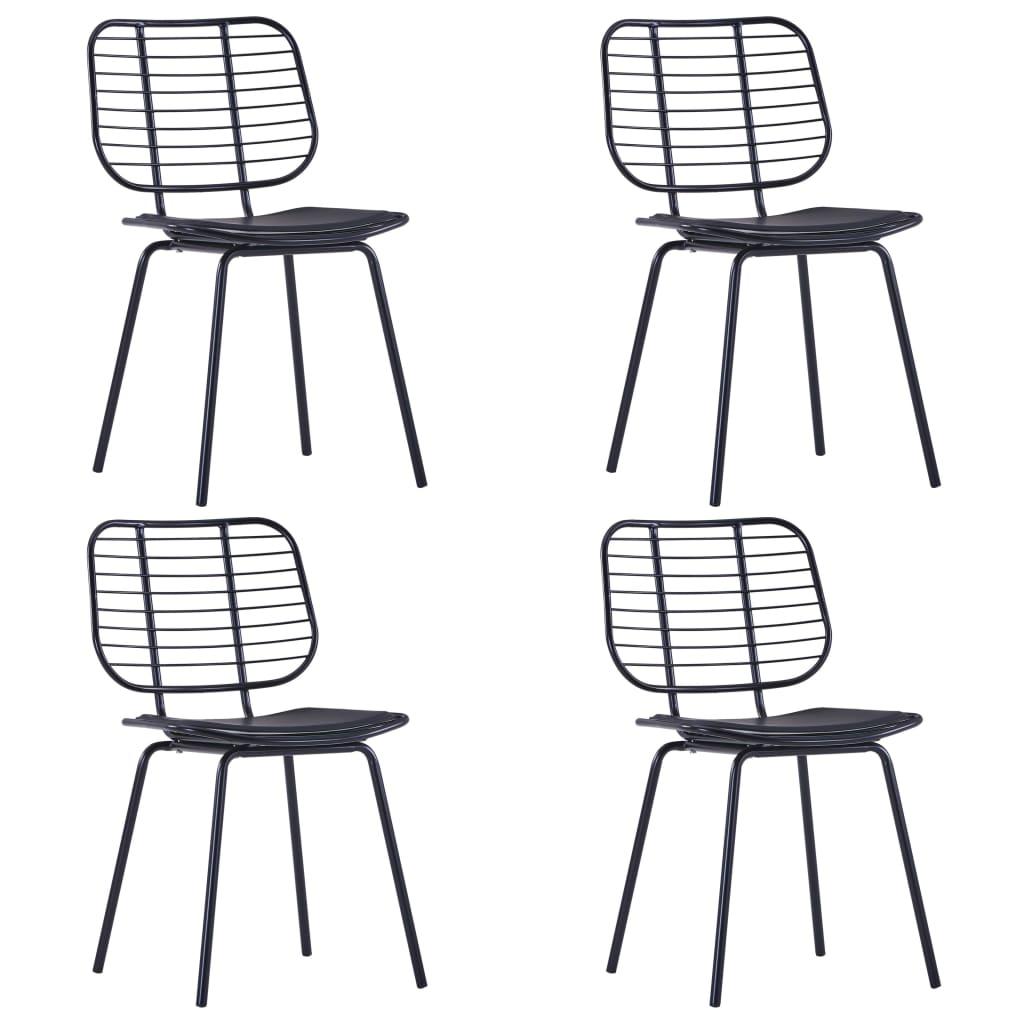 vidaXL Καρέκλες Τραπεζαρίας 4 τεμ. Μαύρες Ατσάλι/Κάθισμα Δερματίνης