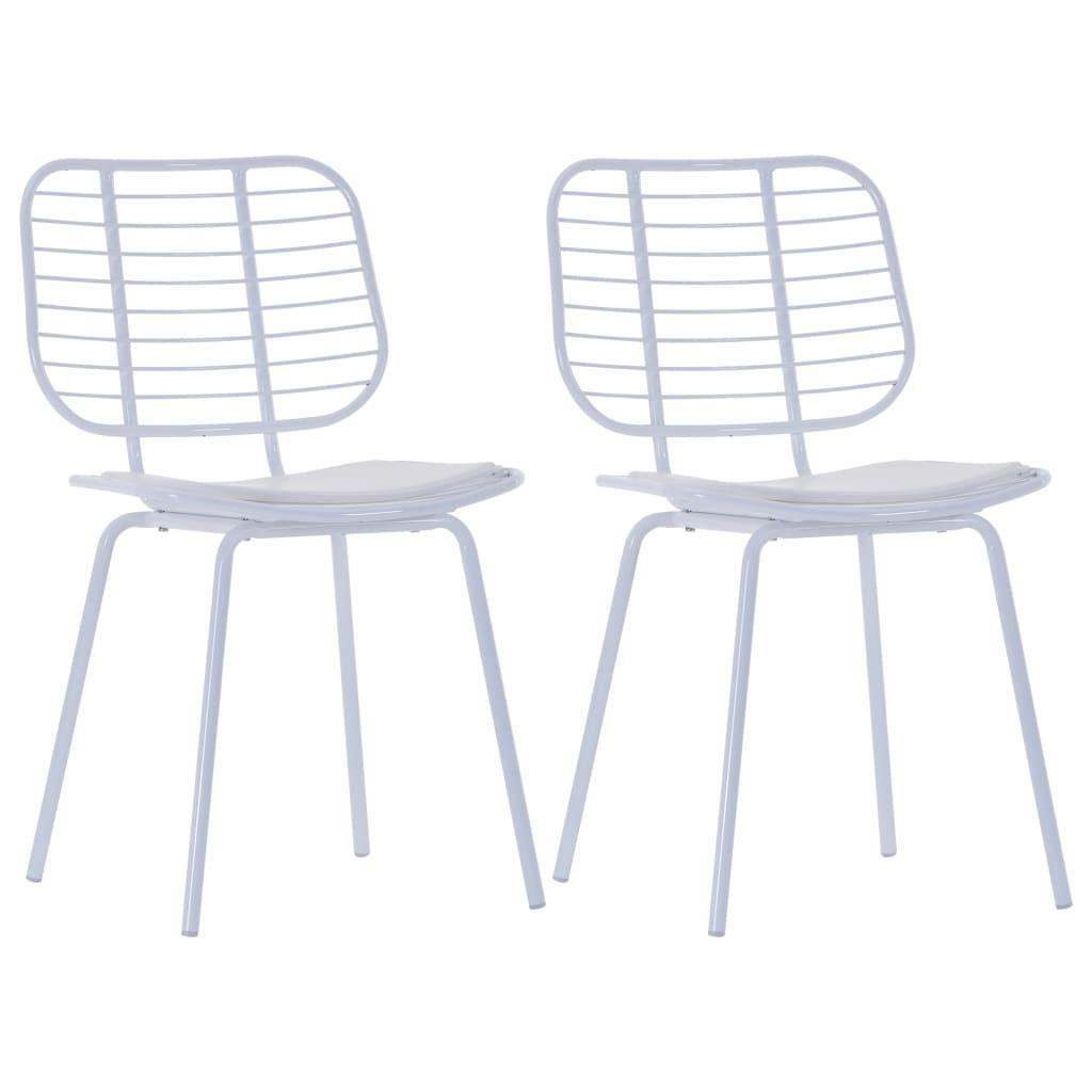 vidaXL Καρέκλες Τραπεζαρίας 2 τεμ. Λευκές Ατσάλι/Κάθισμα Δερματίνης