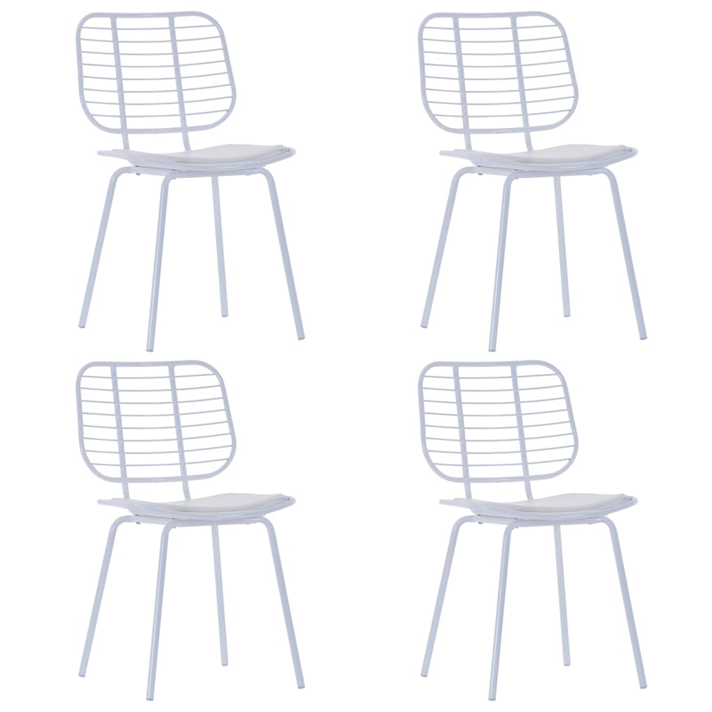 vidaXL Καρέκλες Τραπεζαρίας 4 τεμ. Λευκές Ατσάλι/Κάθισμα Δερματίνης