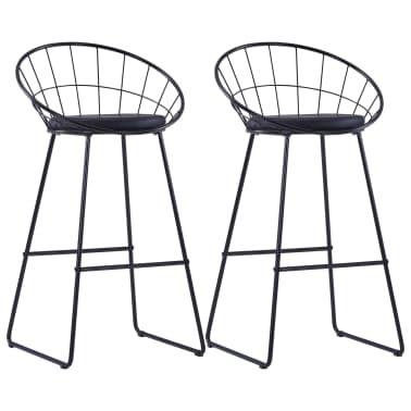 vidaXL Chaises de bar avec sièges en similicuir 2 pcs Noir Acier[1/7]