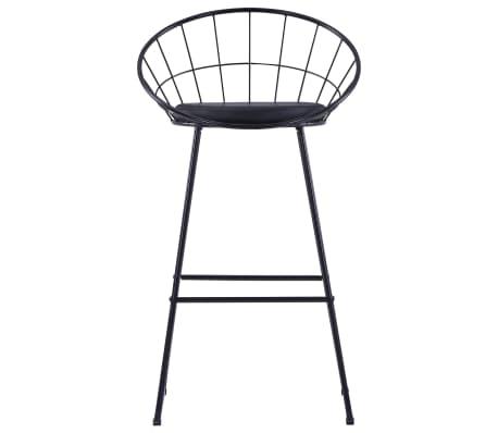 vidaXL Chaises de bar avec sièges en similicuir 2 pcs Noir Acier[2/7]