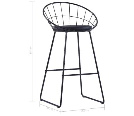 vidaXL Chaises de bar avec sièges en similicuir 2 pcs Noir Acier[7/7]