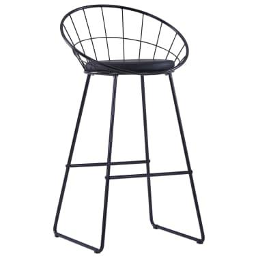 vidaXL Chaises de bar avec sièges en similicuir 2 pcs Noir Acier[3/7]