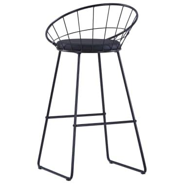 vidaXL Chaises de bar avec sièges en similicuir 2 pcs Noir Acier[5/7]