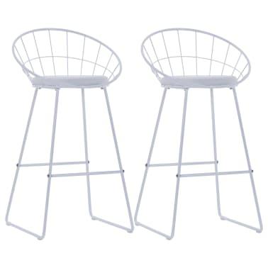 vidaXL Barové židle se sedáky z umělé kůže 2 ks bílé ocelové[1/7]