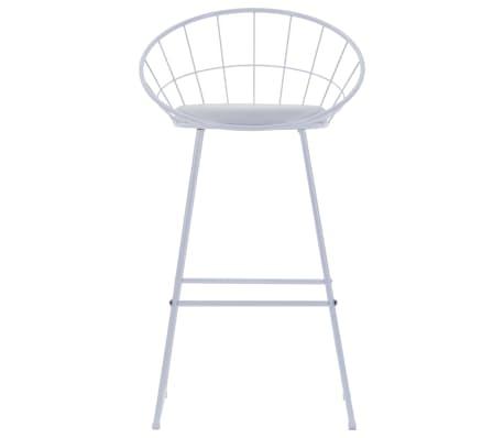 vidaXL Barové židle se sedáky z umělé kůže 2 ks bílé ocelové[2/7]