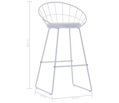 vidaXL Barové židle se sedáky z umělé kůže 2 ks bílé ocelové[7/7]