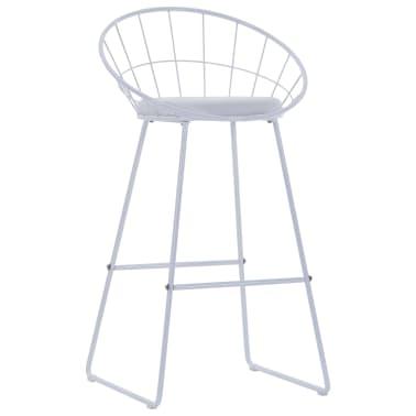 vidaXL Barové židle se sedáky z umělé kůže 2 ks bílé ocelové[3/7]