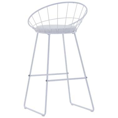 vidaXL Barové židle se sedáky z umělé kůže 2 ks bílé ocelové[5/7]