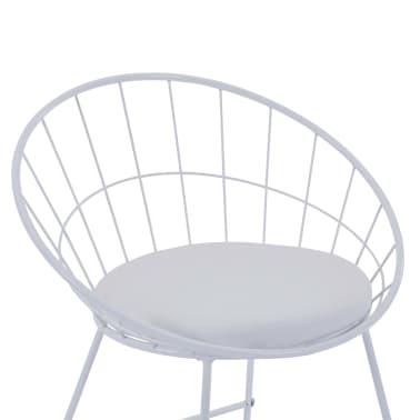 vidaXL Barové židle se sedáky z umělé kůže 2 ks bílé ocelové[6/7]