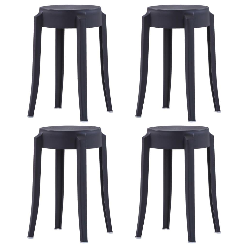Stohovatelné stoličky 4 ks černé plast