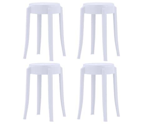 vidaXL Stackable Stools 4 pcs White Plastic