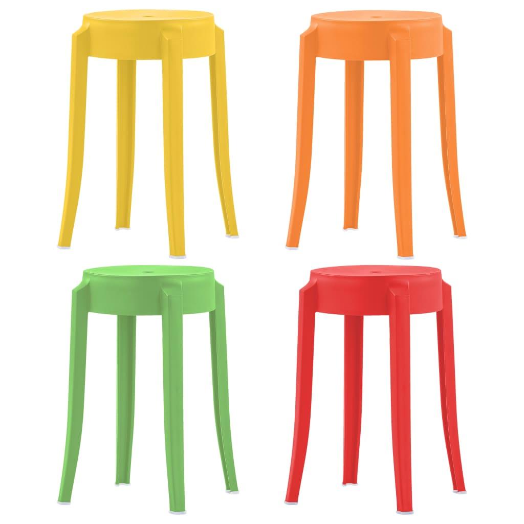 Stohovatelné stoličky 4 ks různobarevné plast