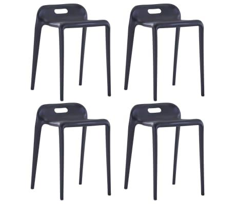 vidaXL Krukken stapelbaar 4 st kunststof zwart