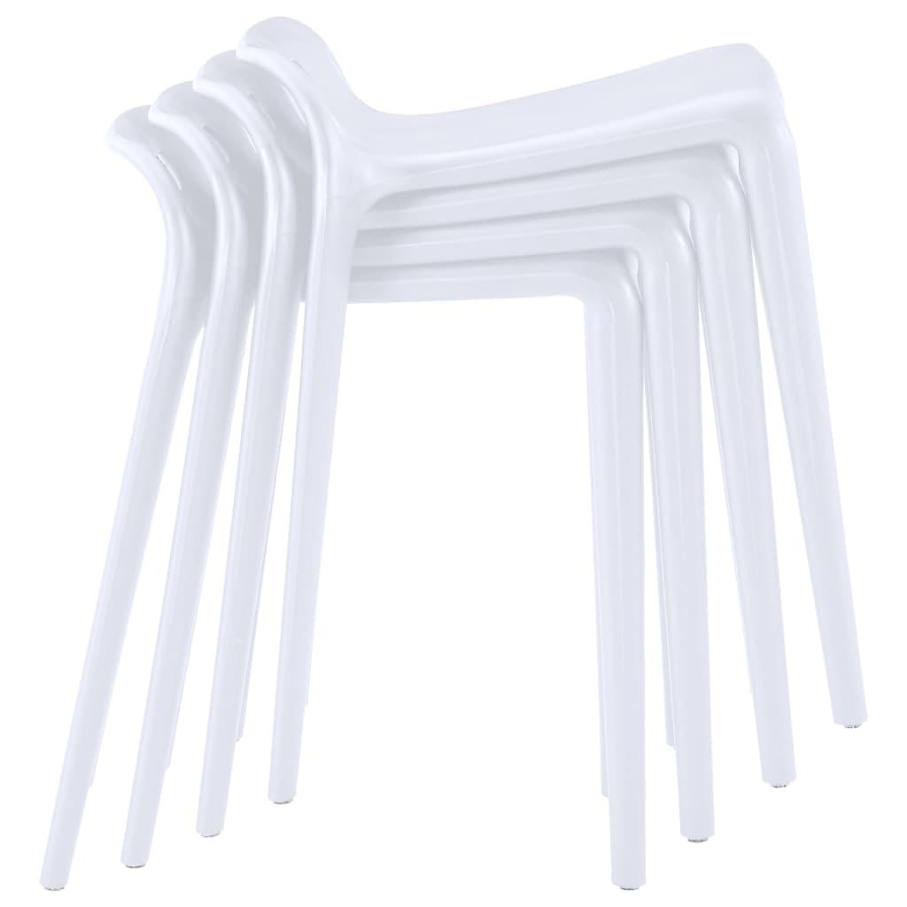 Virnastatavad taburetid 4 tk, valge, plast