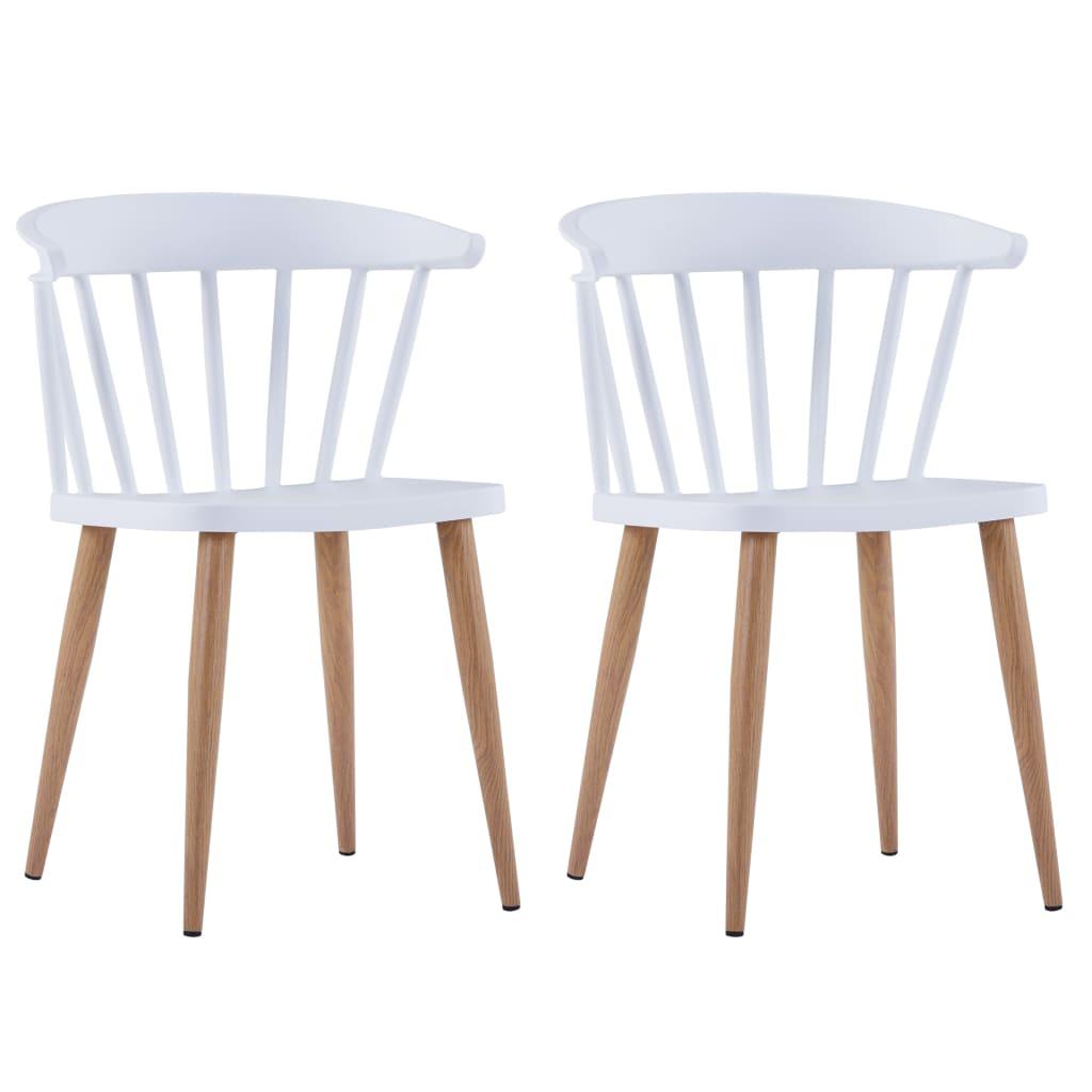 vidaXL Καρέκλες Τραπεζαρίας 2 τεμ. Λευκές Πλαστικές