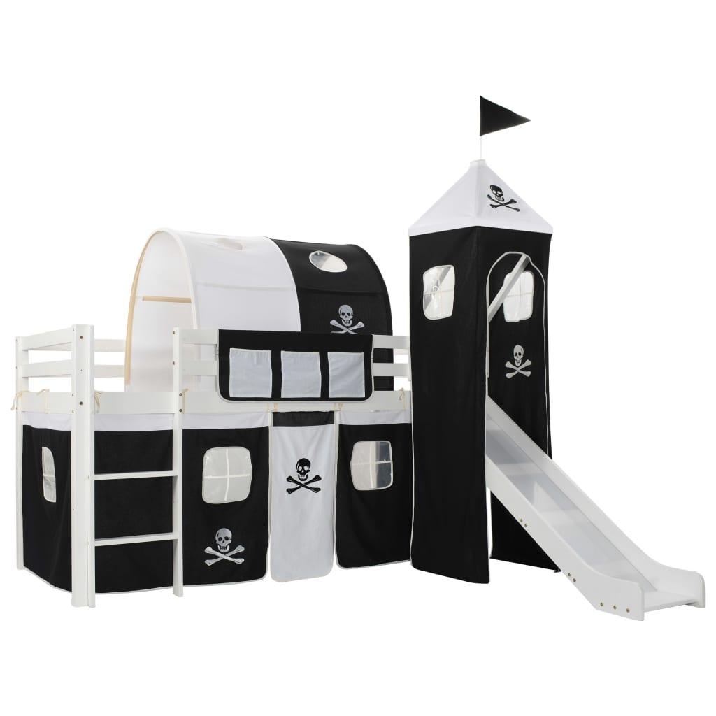 vidaXL Cadru pat etajat copii cu tobogan & scară 97x208cm lemn de pin vidaxl.ro