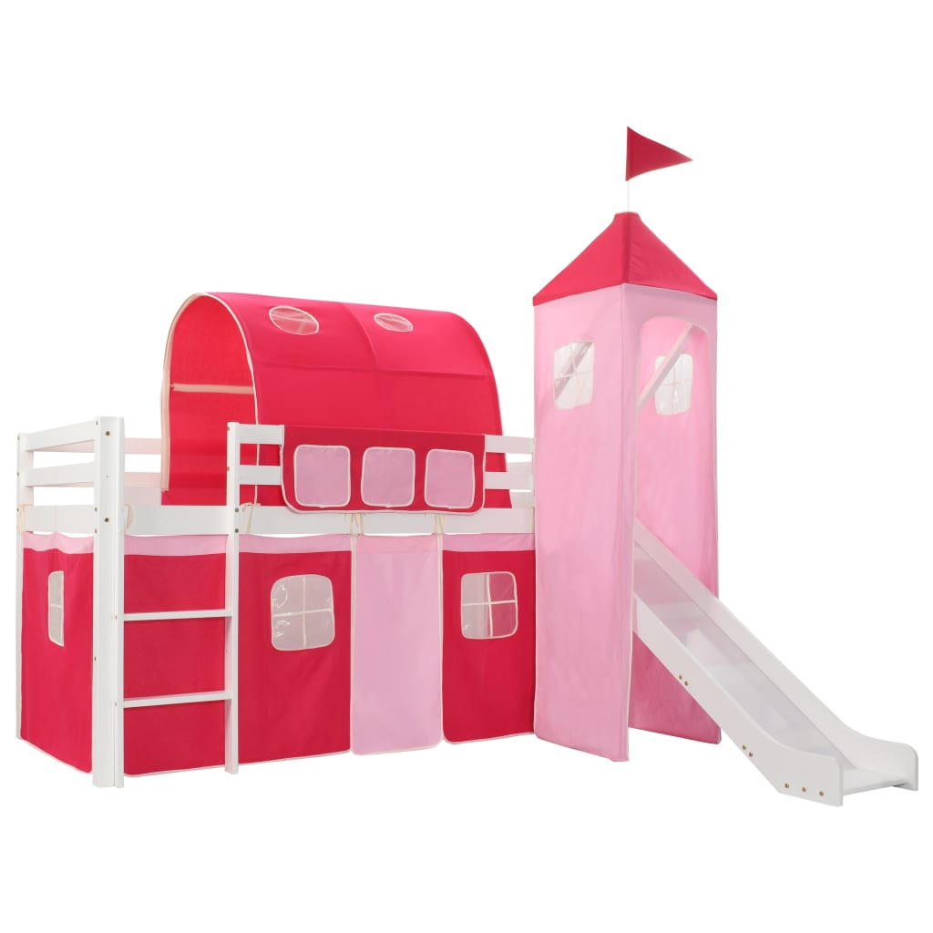 vidaXL Cadru pat etajat copii cu tobogan & scară 208x230 cm lemn pin vidaxl.ro