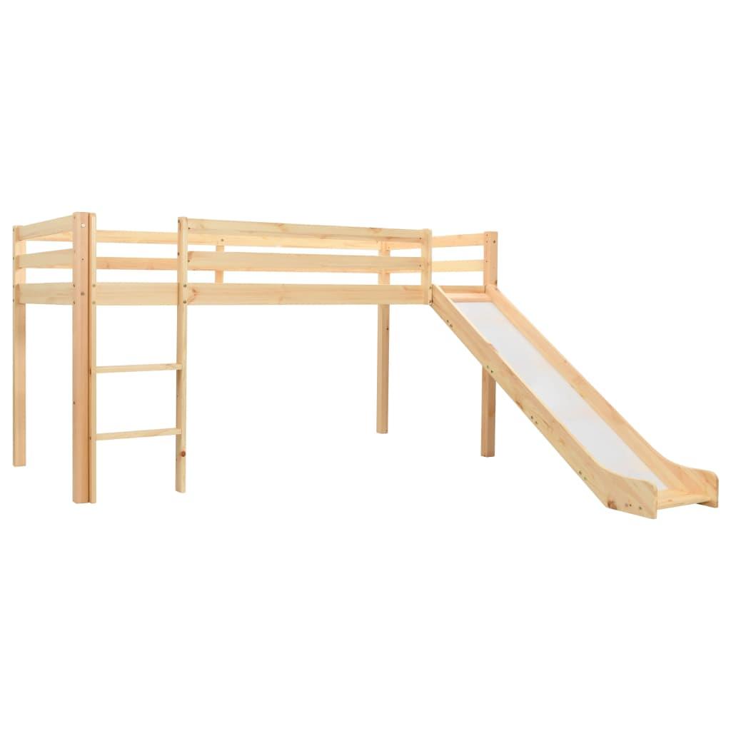 vidaXL Cadru pat copii etajat cu tobogan & scară 97x208cm lemn de pin vidaxl.ro