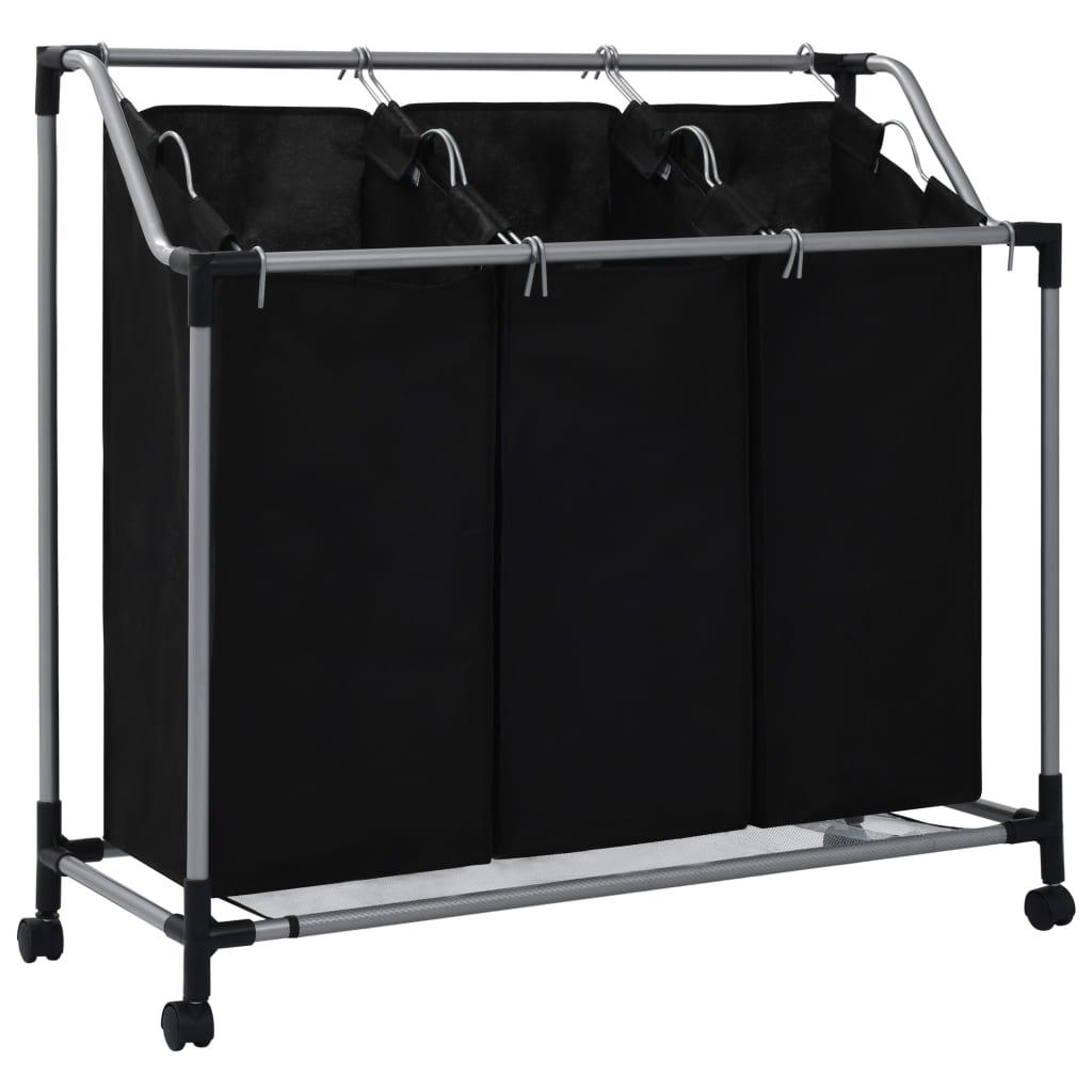 vidaXL Koš na třídění prádla se 3 vaky černý ocel
