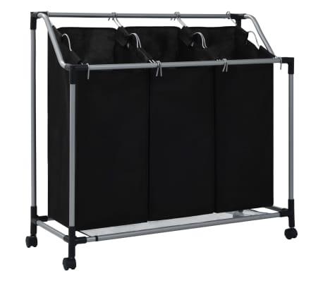 vidaXL Кош за сортиране на пране с 3 торби, черен, стомана