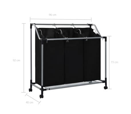 vidaXL Wassorteerder met 3 zakken staal zwart[7/7]