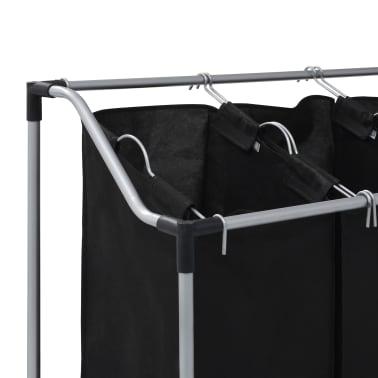 vidaXL Wassorteerder met 3 zakken staal zwart[4/7]