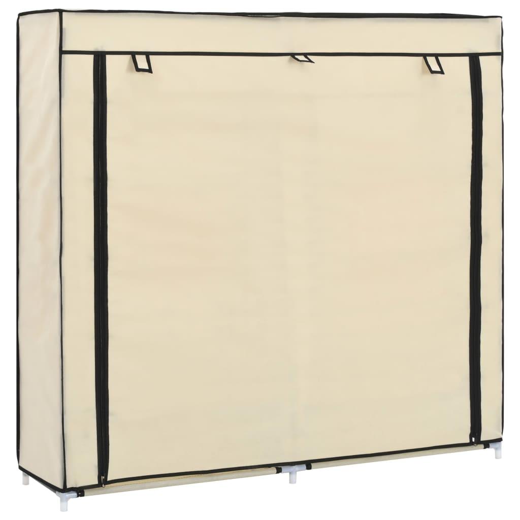 vidaXL Παπουτσοθήκη με Κάλυμμα Κρεμ 115 x 28 x 110 εκ. Υφασμάτινη