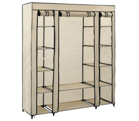 vidaXL Wardrobe with Compartments and Rods Cream 150x45x176 cm Fabric