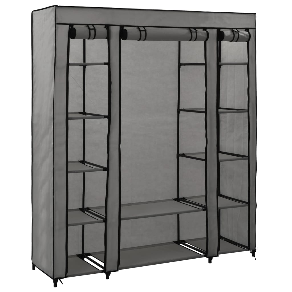 Šatní skříň s přihrádkami a tyčemi šedá 150x45x176 cm textil