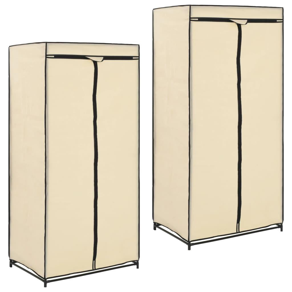 Šatní skříně 2 ks krémové 75 x 50 x 160 cm