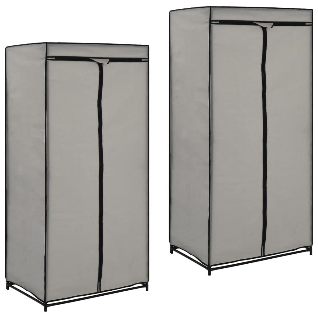 vidaXL Kledingkasten 2 st 75x50x160 cm grijs